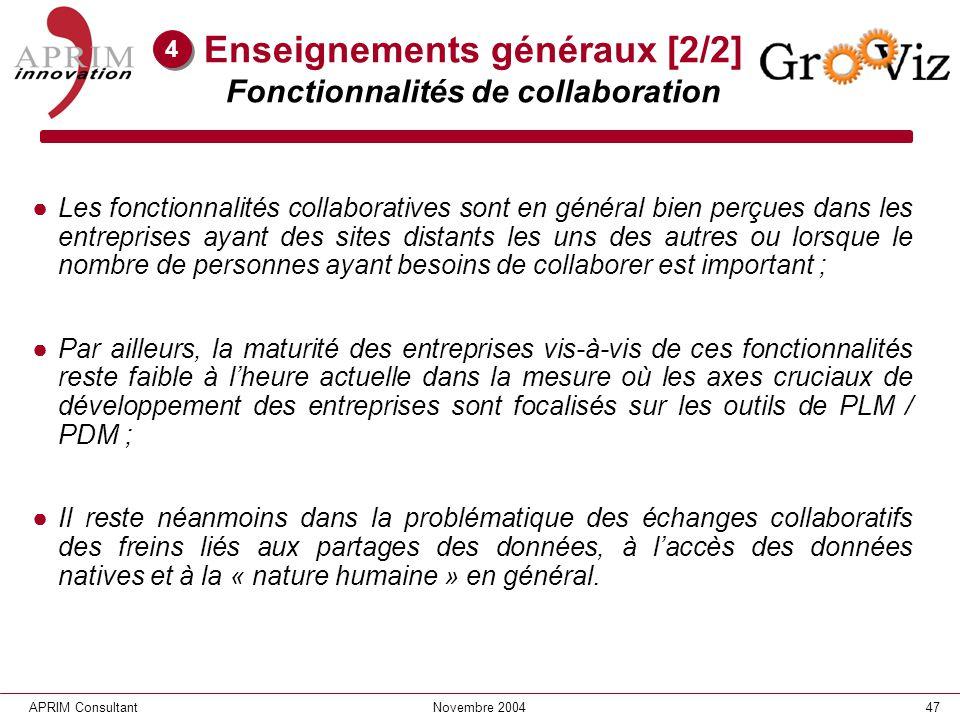 Enseignements généraux [2/2] Fonctionnalités de collaboration